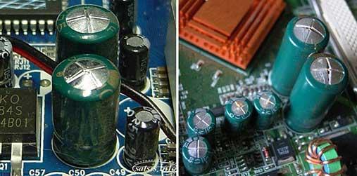 Выключается компьютер разбухли конденсаторы